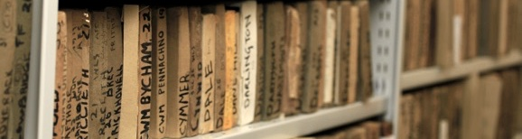 Archive shelves of glass negatives
